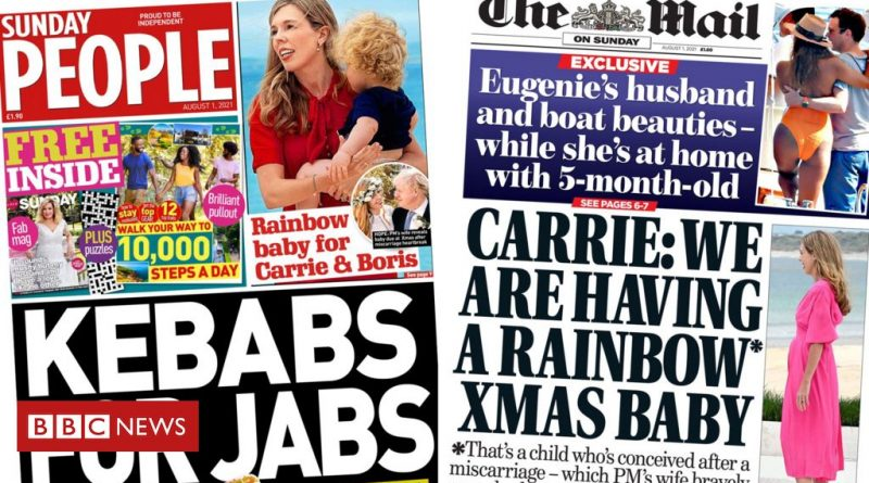 Newspaper headlines: 'Kebabs for jabs' and 'baby no 2' for PM and Carrie