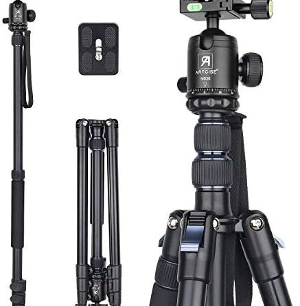 """Camera Tripod 82.6""""/210cm, ARTCISE AF30 Professional Aluminum Alloy high Travel Tripod Monopod with 36mm All metal CNC 360 ° Panorama Ball Head and Center Column for DSLR Camera, Max Load 33.1lbs/15kg"""