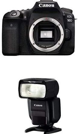 Canon EOS 90D Body Only,Black + Speedlite 430EX III-RT Flash - Black