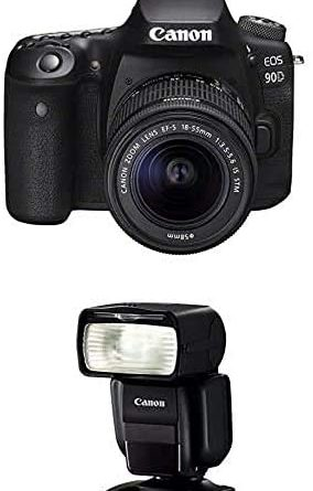 Canon EOS 90D + EF-S 18-55mm f/3.5-5.6 IS STM + Speedlite 430EX III-RT Flash - Black