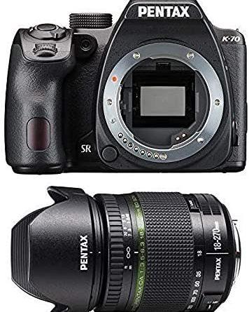 Pentax 1624201 K-70 DSLR 18-270 mm Lens, Black