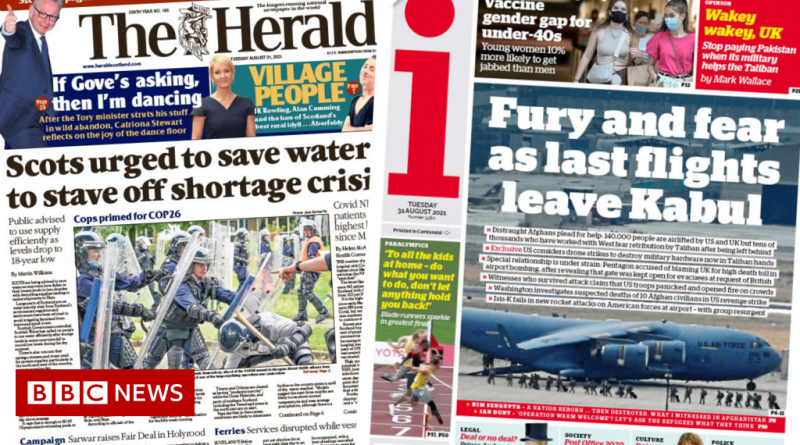 Scotland's papers: 'Fury' as US leaves Kabul and water shortage fears