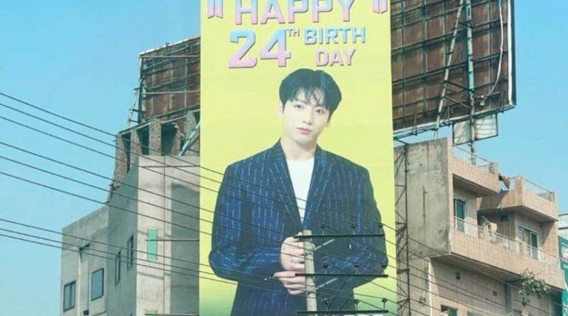 A billboard celebrating BTS member Jeon Jungkook's birthday seen in Gujranwala, Pakistan