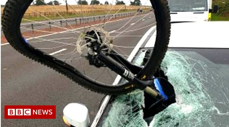 Bike crashes through driver's windscreen on M9 at West Lothian