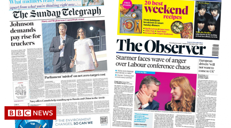 Newspaper headlines: 'Pay rise for truckers' says PM, and Labour 'chaos'