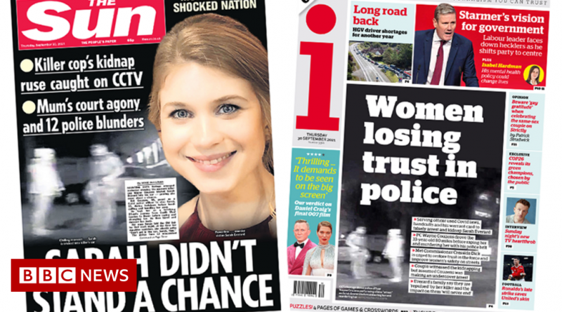 Newspaper headlines: 'Sarah didn't stand a chance' and 'women lose trust'