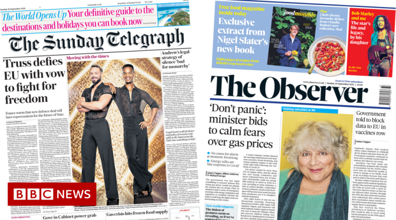 Newspaper headlines: Truss 'wades into row' and plea for calm over gas prices
