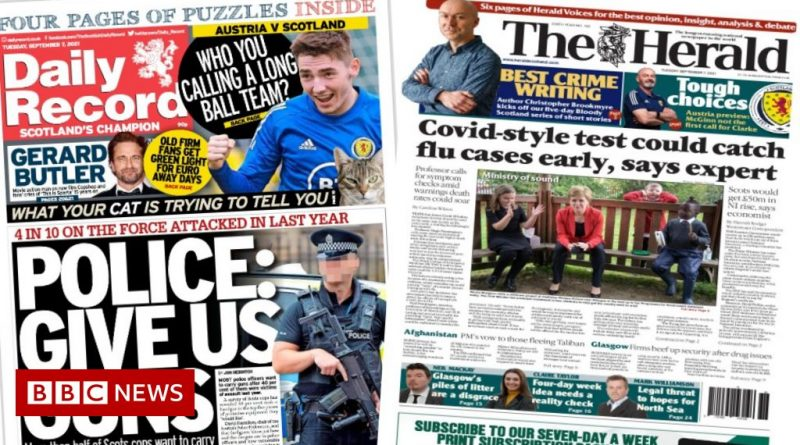 Scotland's papers: Covid-style flu tests and police officer gun plea