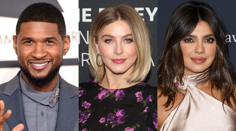 Headshots of Usher, Julianne Hough and Priyanka Jonas