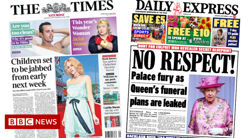 The Papers: Child jabs decision 'chaos', and royal funeral leak