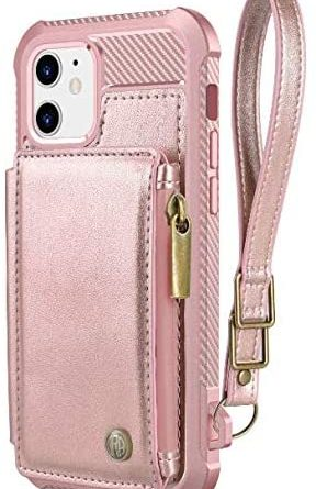 Dracool for iPhone 12 Case for iPhone 12 Pro Case with Card Holder and Screen Protector Wallet Case Leather Shockproof Silicone Bumper 360 Full Body Protection RFID Magnetic Zipper Strap - Rose Gold