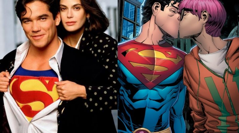 Dean Cain and Teri Hatcher in a Superman television series in the 1990s and an image from DC Comics new issue which depicts Clark Kent's son as bisexual