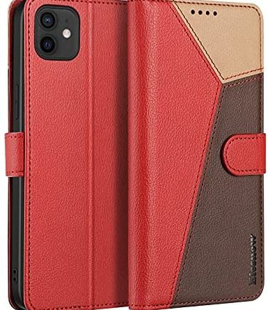 """ELESNOW iPhone 12/12 Pro Case - 6.1"""", Shockproof Cover Magnetic Flip Leather Wallet Card Holder Phone Case for iPhone 12/12 Pro (Red/Brown/Khaki)"""