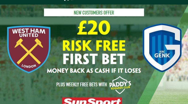 Get £20 risk-free bet on West Ham vs Genk, plus 105/1 Michail Antonio special