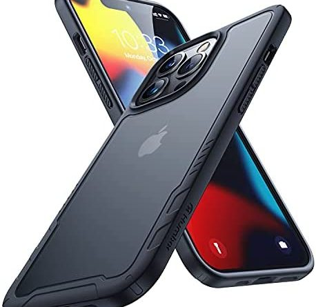 """Humixx for iPhone 13 Pro Max Case, [8FT Military Grade Shockproof] Powerful Protection while Slim Fit Matte Translucent Black Durable Hard Back Soft Silicone Bumper Edge with Airbag Phone Cover-6.7"""""""