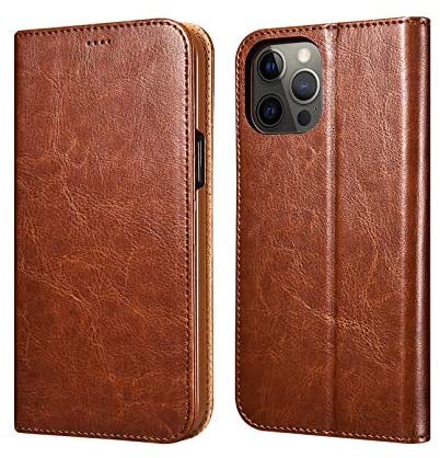 ICARER Wallet Case for iPhone 12 iPhone 12 Pro, Premium Leather Magnet Folio Flip Cover with Kickstand and 3 Credit Card Slots Back Cover Case for Apple iPhone 12/12 Pro 6.1 Inch 2020 Released (Brown)