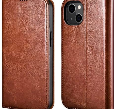 ICARER Wallet Case for iPhone 13, Premium Leather Magnet Folio Flip Cover with Kickstand and 3 RFID Credit Card Slots Back Cover Case for Apple iPhone 13 6.1 Inch 2021 Released (Brown)