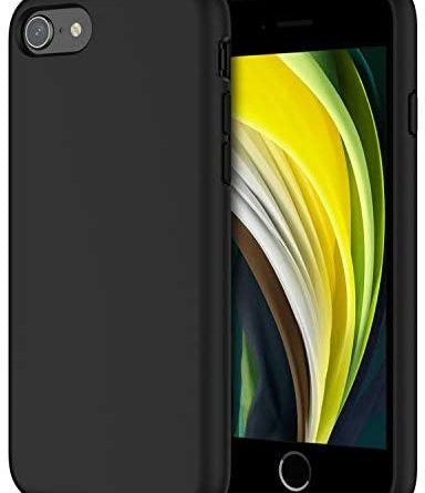 JETech Silicone Case Compatible with iPhone SE 2020 2nd Generation, iPhone 8 and iPhone 7, 4.7-Inch, Silky-Soft Touch Full-Body Protective Case, Shockproof Cover with Microfiber Lining (Black)