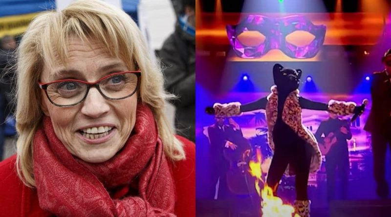 A side by side image of Finnish MP Päivi Räsänen and her appearance on the Masked Singer Suomi