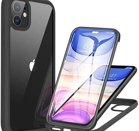 Miracase 360 Glass Case Compatible with iPhone 11, [Glass Screen Protector] Full Body Rubber Bumper Case Cover for iPhone 11 6.1inch (Black)