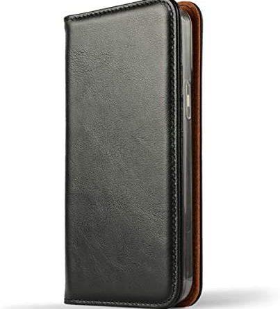 NOVADA Genuine Leather iPhone 12 Pro Max Case - Credit Card Wallet - Black
