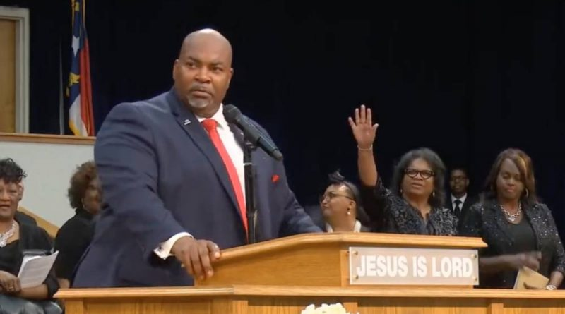 North Carolina's lieutenant governor Mark Robinson is seen speaking before people gathered at the Upper Room Church of God in Christ in August