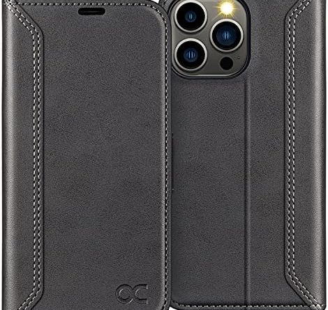 OCASE Compatible with iPhone 13 Pro Case, iPhone 13 Pro Retro Wallet 5G Case, PU Leather Folio Flip Case with RFID Blocking Card Holder Kickstand, Shockproof Phone Cover for 6.1 Inch,Graphite Black