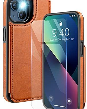 OCASE Compatible with iPhone 13 Pro Max Case, Premium PU Leather Flip iPhone 13 Pro Max Wallet Case with Card Holders Double Magnetic Clasp Kickstand Phone Cover for 6.7 Inch 2021 5G,Brown