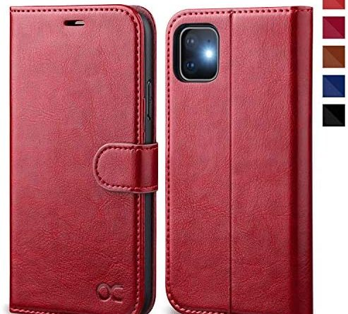 OCASE iPhone 11 Case, Premium PU Leather iPhone 11 case [TPU Inner Shell][Kickstand][Card Holder] Flip Wallet Phone Case - For the 6.1 inch iPhone 11 -Red