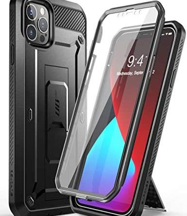 SUPCASE Unicorn Beetle Pro Series Case for iPhone 12 Pro Max (2020 Release) 6.7 Inch, Built-in Screen Protector Full-Body Rugged Holster Case(Black)