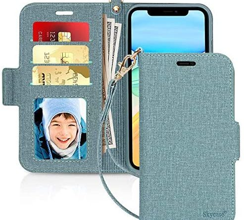 """Skycase iPhone 11 Case 6.1"""",[RFID Blocking] Premium PU Leather iPhone 11 Wallet Case with Card Slots Hand Strap Stand Protective Cover Flip Case for iPhone 11 6.1"""" 2019 Green"""