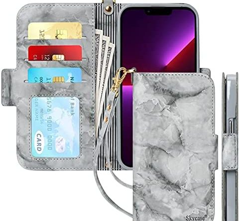 """Skycase iPhone 13 Pro Max Case, [RFID Blocking] Handmade Flip Folio Wallet Case with Card Slots and Hand Strap Kickstand Protective Cover for Apple iPhone 13 Pro Max 6.7"""" 2021,Marble Black"""