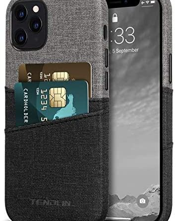 TENDLIN Compatible with iPhone 12 Pro Max Case Wallet Design Premium Leather Case with 2 Card Holder Slots (Gray)