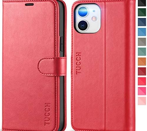 TUCCH iPhone 12 Pro Case, iPhone 12 Wallet Case[Protective RFID Blocking] Credit Card Slots, Soft TPU, Magnetic Shockproof PU Leather Kickstand Flip Cover Compatible with iPhone 12 Pro/12(6.1), Red