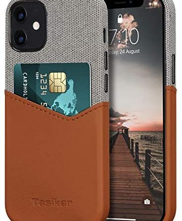 Tasikar Compatible with iPhone 12 Mini Case with Card Holder Slot Wallet Case Leather and Fabric Design (Brown)
