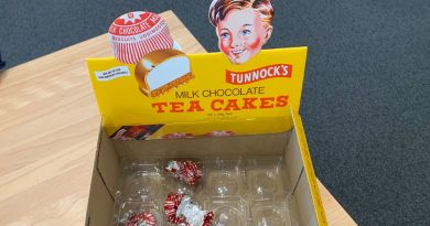 Tunnock's box with wrappers inside