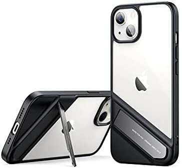 UGREEN Aluminum Alloy Kickstand Case, Compatible with iPhone 13 6.1 inch 2021, Anti-Yellowing Thin TPU Protective Cover, Shockproof Bumper Phone Case, Two Way Stand, Support Wireless Charging (Black)