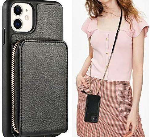 Wallet Case for iPhone 12 and iPhone 12 Pro, JLFCH Crossbody Case with Zipper Card Holder Wrist Strap Lanyard Purse Women Handbag Protective for Apple iPhone 12 Pro (2020), 6.1 inch - Black