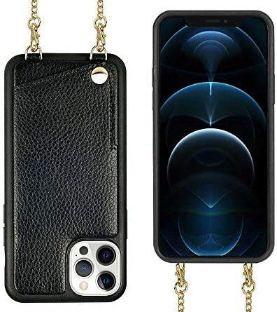 iPhone 12 Pro Max Wallet Case, JLFCH iPhone 12 Pro Max Crossbody Case with Credit Card Holder Lanyard Purse Women/Girly Protective for Apple iPhone 12 Pro Max (2020), 6.7 inch - Black